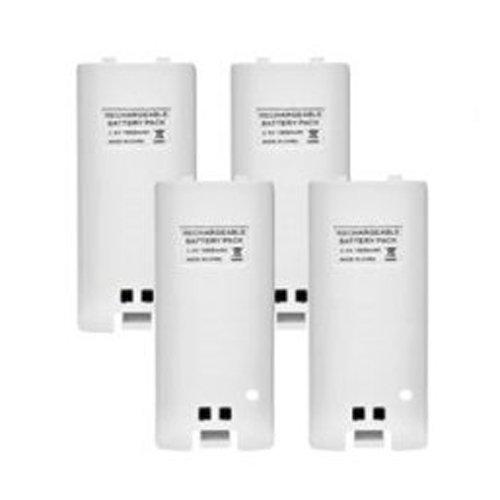 TOOGOO (R) 4 x bateria recargable y cuatro 4 Kit Estacion del cargador del muelle para Wii Remoto controlador Blanca