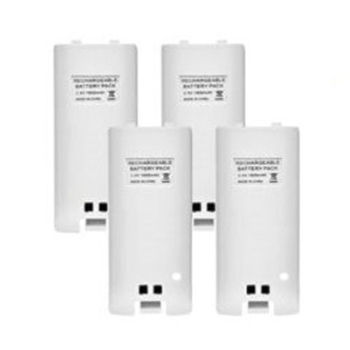 TOOGOO(R) 4 x Batterie rechargeable 4 Chargeur Douille Station quadrilatere Kit pour Wii Telecommande Blanc