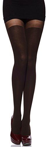 Merry Style Damen Strumpfhose mit Overknees Muster 80 DEN MSSSR01 (Caffee, 3 (36-40))