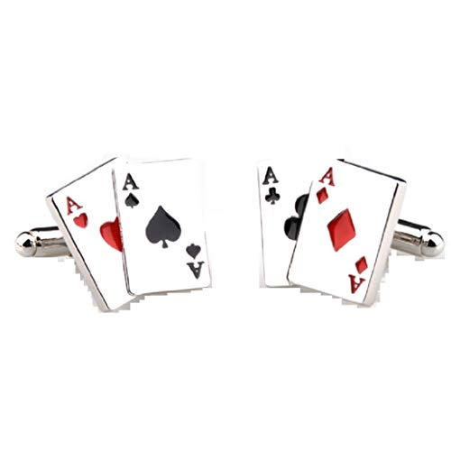 MRCUFF Aces 4 Four Playing Cards Poker Gambling Casino Pair Cufflinks in...