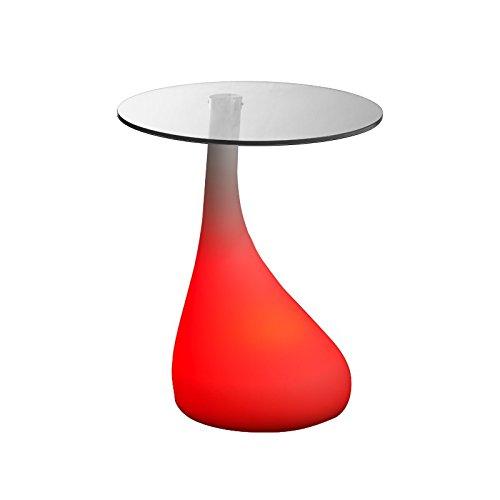 Luminatos Manchester, LED Tisch mit Glasscheibe Farbwechsel Fernbedienung Akku Betrieb, Couchtisch, beistelltisch, led Couch Tisch, Wohnzimmer Tisch