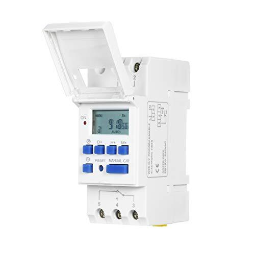 THC15A Digital LCD Power Interruptor temporizador programable Relé 16A Amp Electrónico Semanal 7 días 16 Relé de encendido y apagado Control de temporizador AC 220V Montaje en riel Din Swtich