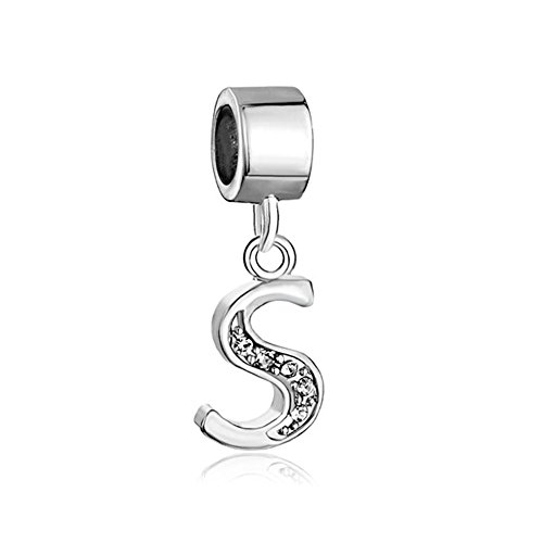 Alphabet Charms Letters Initial A-Z Dangle Clear Birthstone Fit Pandora Chamilia Charms Bracelets (S)