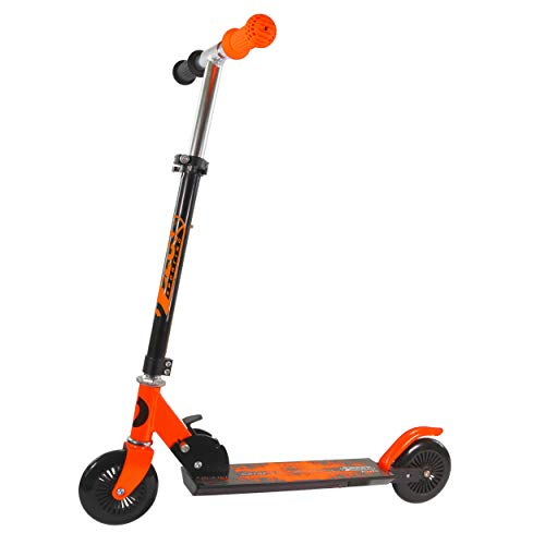 Best Sporting Scooter 125er Rolle, Tretroller für Kinder, klappbar (schwarz/orange)