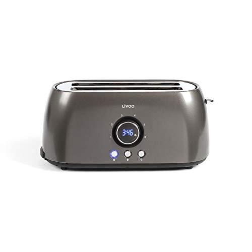 Tostadora 4 rebanadas - de ranura larga 6 niveles - 3 funciones de parada de calentamiento y descongelación - Bandeja recogemigas y termostato regulable