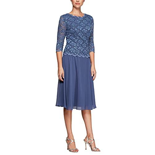 Alex Evenings Damen Tea Length Sequin Mock Dress (Petite and Regular) Kleid fr besondere Anlsse, Wedgewood, 42