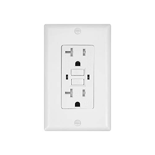 1 Pack - GFCI Duplex Outlet Receptacle - Tamper Resistant & Weather Resistant 20-Amp/125-Volt, Self-Test Function with LED Indicator - UL Listed, cUL Listed - Wall Plate and Screws Included, White