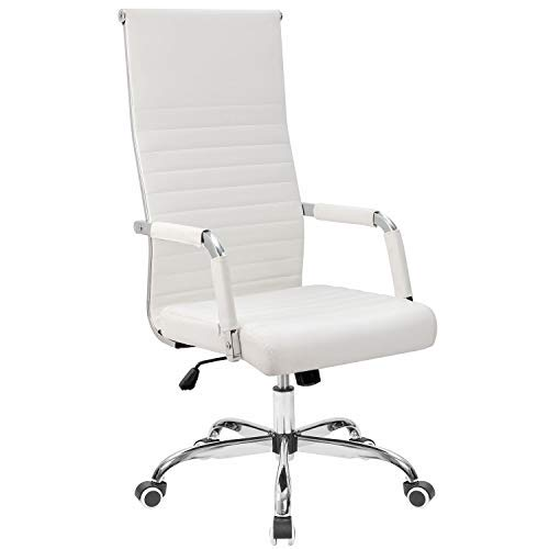 Tuoze Office Chair High Back Leather Desk Chair Modern Executive Ribbed Chairs Height Adjustable Conference Task Chair with Arms (White)