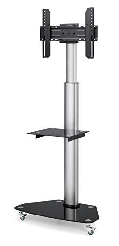 conecto® LM-FS01G Premium TV-Ständer Standfuß für Fernseher Flachbildschirm LED Plasma höhenverstellbar 37-70 Zoll (94-178 cm, bis 40 kg) VESA Standard, Silber/schwarz