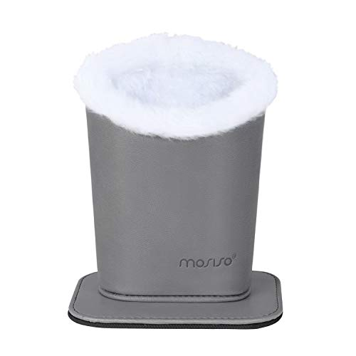MOSISO Eyeglasses Holder, Plush Lined PU Leather Stand Case with Magnetic Base, Light Gray