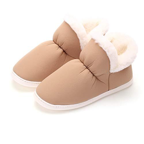 FRTG Zapatillas de Invierno para Hombre toboganes de Piel Antideslizantes para Hombre Zapatos de algodón Unisex de Felpa cálida para Interiores Zapatilla Peluda,Marrón,Chinese39/40