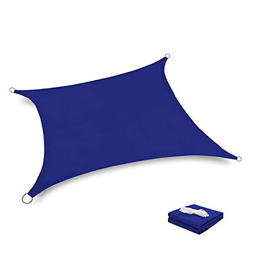 QAZW Vela de Sombra, 2021 Upgrade Sun Shade, Toldo Rectangular, Vela Parasol Sunlight Block para Patio, Plataforma, Actividades Al Aire Libre y en El Patio,Blue-Quadrilateral9.84'x9.89'