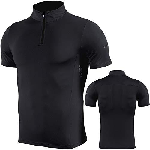 Camisetas deportivas para hombre Running Base Layers Tops de secado rápido gimnasio compresión manga corta Fitness Top Camisas 1/4 Zip cuello alto sudadera