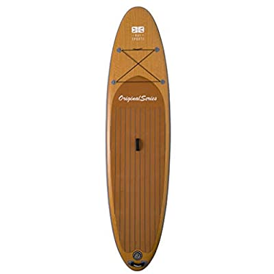 """Bay Sports 10'6"""" Inflatable SUP Board Original Series iSUP - 'Wood-Look' with Performance Fibreglass 3-Piece Adjustable Paddle and FCS II Connect GF """"Tool-Less"""" Centre Fin - Designed in Australia"""