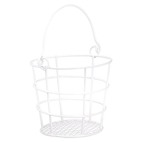 The Lucky Clover Trading Stella Mini Round Wire Pail with Swing Handle-3in Basket, White