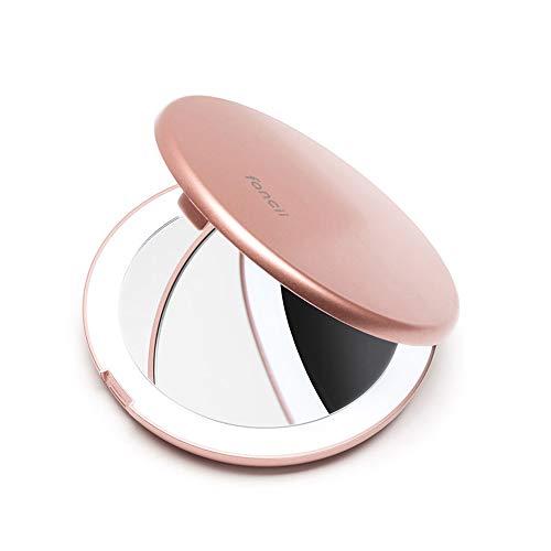 Fancii Specchio da Borsetta per Trucco con Luce LED Naturale, Ingrandimento 1x/ 10x - 102 mm Specchio Ingranditore Tascabile Illuminato, Oro Rosa (Mini Lumi)
