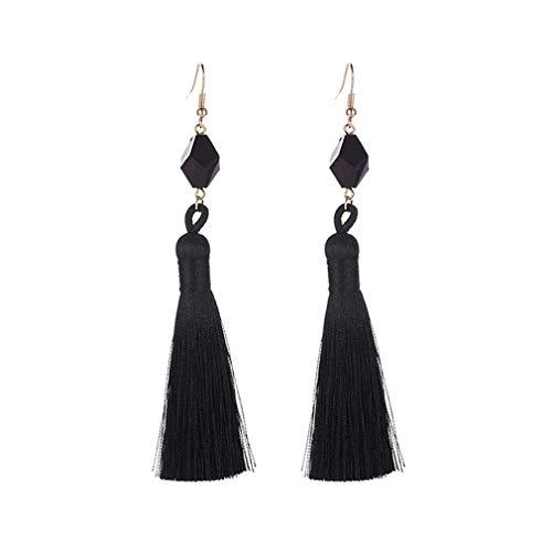 Pendientes de borla para mujer, de Moonring, con colgante de flecos largos de cristal sintético, regalo de cumpleaños As description show negro