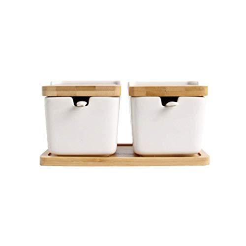 bottl Caja de condimentos de cerámica Olla de condimentos Azucarero Contenedor de condimentos Caja de condimentos con Tapa y Cuchara