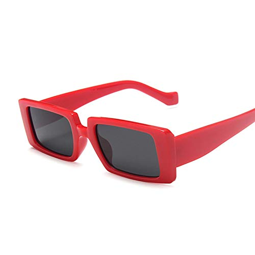 NJJX Gafas De Sol Cuadradas De Moda Para Mujer, Gafas De Sol Rectangulares Retro Vintage Para Mujer, Espejo Negro, Pequeño, Rojo, Gris