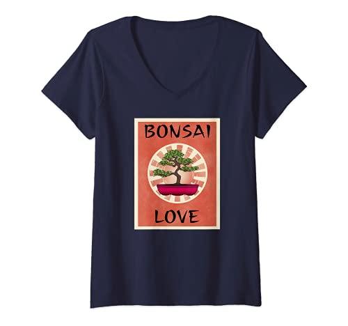 Mujer BONSAI LOVE - Ventilador para árbol en miniatura, diseño de árbol Camiseta Cuello V