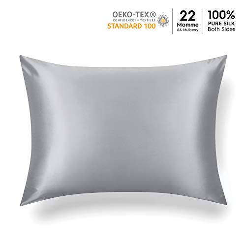 Tafts 22mm 100% Pure Mulberry Silk Pillowcase for Hair and Skin Hypoallergenic Both Sides Grade 6A Long Fiber Natural Silk Pillow Case Concealed Zipper Queen 20x30 inch Silver Grey