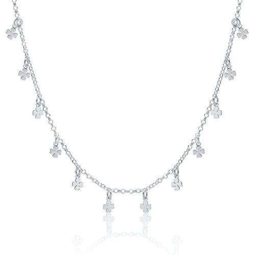 WANDA PLATA Collar Gargantilla Tréboles para Mujer Chica Joven Plata de Ley 925, Amuleto Suerte, Fortuna, Joyería de Moda en Caja de Regalo