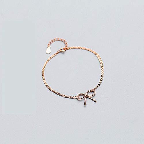 CHWEI Knitted Hat Pulseras para Mujer Pulsera Clásica con Lazo De Doble Cadena para Mujer Boda Plata De Ley 925 Color Oro Rosa Joyería De Moda Regalo para Amantes B