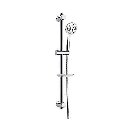 Ramon Soler 99H300926 Hidroterapia - Barra de ducha de metal cromada, con soportes de fijación a pared adaptables, teleducha y flexo
