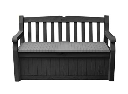Keter Eden Bench Outdoor Storage Box Garden Furniture, Graphite and Grey, 132.5L x 75W x 18.5H cm