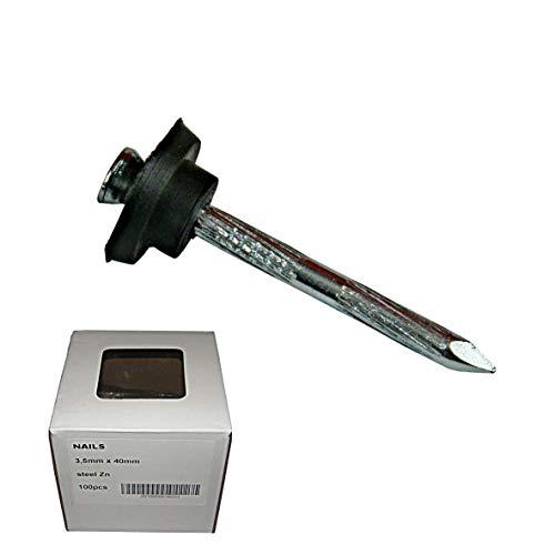 3,5x40mm 100 Stück Dichtnägel für Noppenbahn Dichtnagel Nagel mit Dichtscheiben