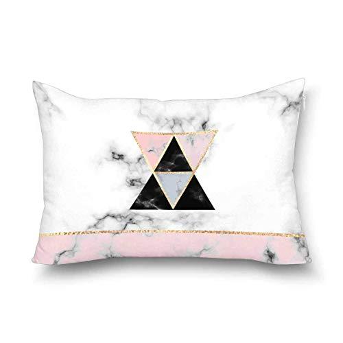 Funda de almohada minimalista con estampado de mármol con triángulos dorados, formas geométricas y rayas, tamaño Queen 50 x 70 cm, funda de almohada decorativa rectangular con cierre