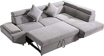 Sectional Sofa Sleeper Sofa Bed Futon Sofa Bed Sofas for Living Room Furniture Set Modern Sofa Set Corner Sofa Fabric Contemporary Upholstered  Corner Sofa R Grey