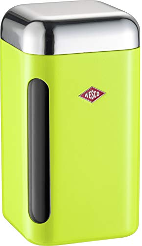 WESCO 321 203 Vorratsdose eckig lemongrün 11 x 11 x 19.5cm (L/B/H), Kunststoff