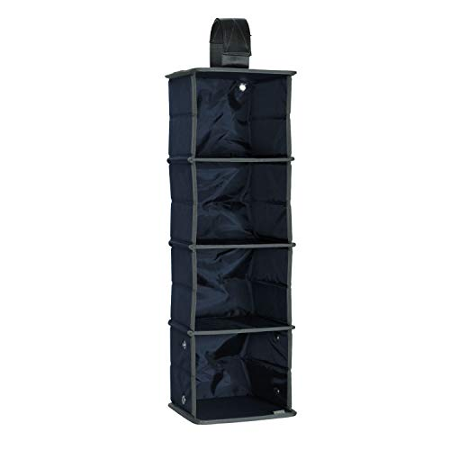meori Hängeorganizer 2in1 für Mini Faltboxen Marine Blau 19,2x17,6x59cm Kleiderschrank Bad Flur Wäsche Kosmetik Büro