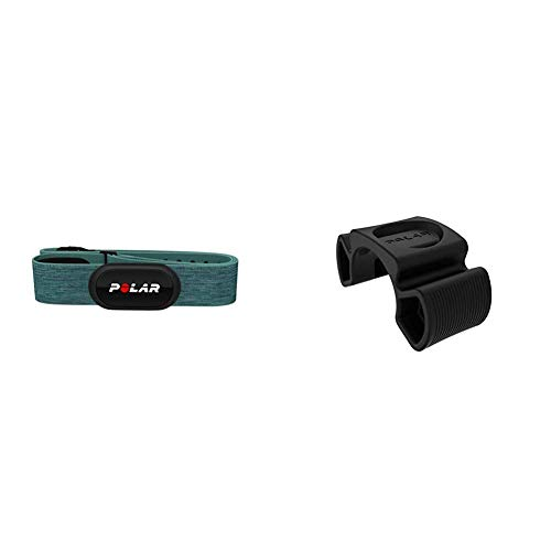 Polar H10 Herzfrequenz-Sensor, Türkis, M-XXL, Unisex, ANT+, EKG, Wasserdichter Herzfrequenz-Sensor mit Brustgurt & Unisex– Erwachsene Bike Mount Set Universal Fahrradhalterung, schwarz, One Size