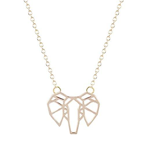 GYKMDF Collar de elefante de origami de plata u oro, elefante geométrico, delicado collar para todos los días, simple, cumpleaños