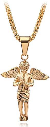 Collar de ángel de Color dorado, colgante de pistola de ángel pequeño, collar de oro, collar de niñas, conjunto de manos de ángel, colgante de encanto, regalo para hombres y mujeres