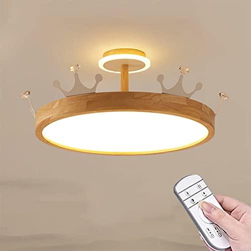 38W Corona de Madera Lámpara colgante LED Regulable con Control Remoto Lámpara Pendiente de Corona Lámpara de Techo con Forma de Corona Redonda Moderno Creativo Para Sala de Estar Dormitorio Luz Ø50cm