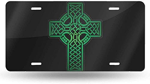 JUCHen Irish Celtic Cross License Plate Decorative Car Front License Plate,Vanity Tag,Metal Car Plate,Aluminum Novelty License Plate for Men/Women/Boy/Girls Car 6x12 Inch