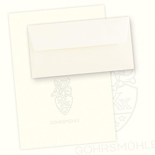 Gohrsmühle Feinstpapier Set (50 Sets) Briefpapier DIN A4 + gefütterte Briefumschläge, abgepasstes Wasserzeichen