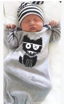 Chennie Baby Baby Baby Lange Mouw Monster Patroon Jurk Peuter Sleeper Slaapzak met Streep Hoed 70cm Zoals getoond