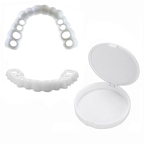 ZHLONG 2 unids Superior + Menor dentadura Dentro Simulación Artificial Dental Care Smile Instant Whitening Confort Herramientas de Belleza Cubierta Cosmetic Falso Dientes