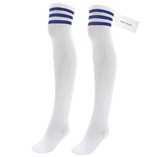 CHIC DIARY Damen Mädchen Kinder Strümpfe Overknee Kniestrümpfe gestreifte Sportsocken College Socks Baumwollstrümpfe