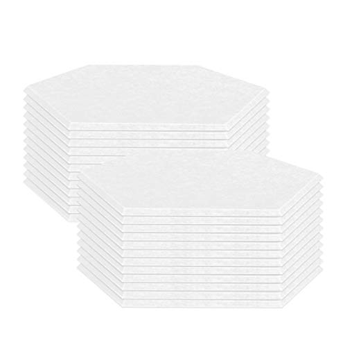 Quiet-Mo 吸音材 4色 六角吸音ボード 防音材 吸音パネル 虫ピン付属【角を斜め45°にカット、きれいに貼れる】 縦30cmx横26cmx厚さ0.9cm 高密度 硬質フェルトボード 壁と床兼用 防音対策 ホワイト,24枚