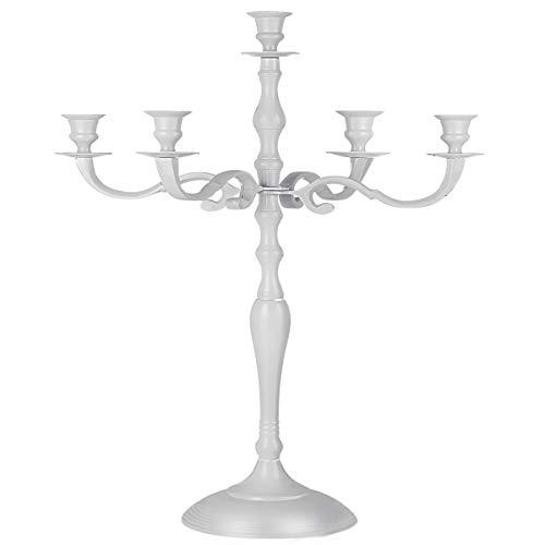 Casaria Kerzenständer Kerzenleuchter 1, 3 oder 5 armig 40 60 80 cm Silber Gold Weiß Leuchter Kerzen Glänzend 60cm Weiß