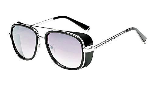 Lovelegis Gafas de sol iron man - steampunk - tony stark - retro - hombre - unisex - montura plateada - lente gris - idea de regalo de cumpleaños