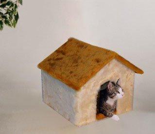 Niche pour chat avec toit en peluche Uni