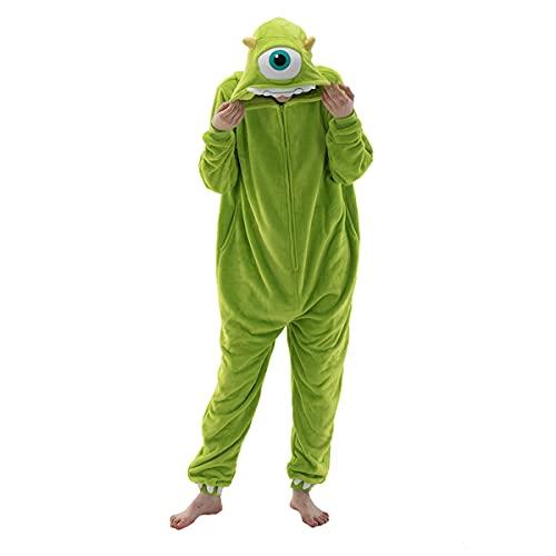 Fitted Unisex Adult Bear Onesie Pajamas, Halloween Sherpa Women's Cosplay Animal One Piece Costume (Mike Wazowski, Medium)