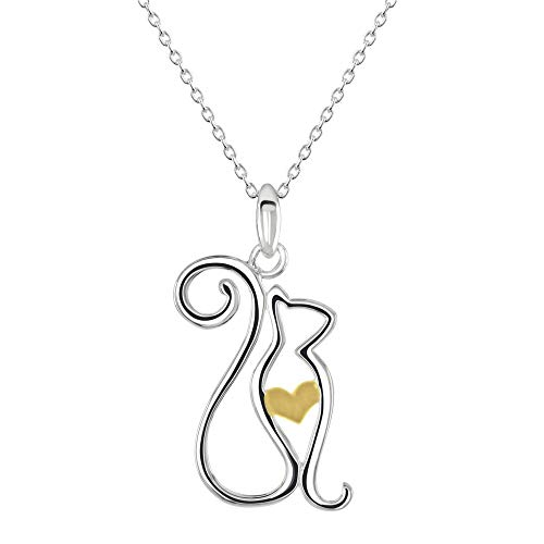 Dew Sterling Silver Cat with Gold Plate Heart Pendant 90347GD028