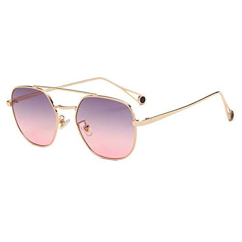 TYOLOMZ Gafas De Sol De Moda para Mujer, Gafas De Sol Cuadradas De Metal con Montura Completa, Lentes De Gradiente para Hombre, Gafas Unisex De Doble Haz, Aleación Poligonal